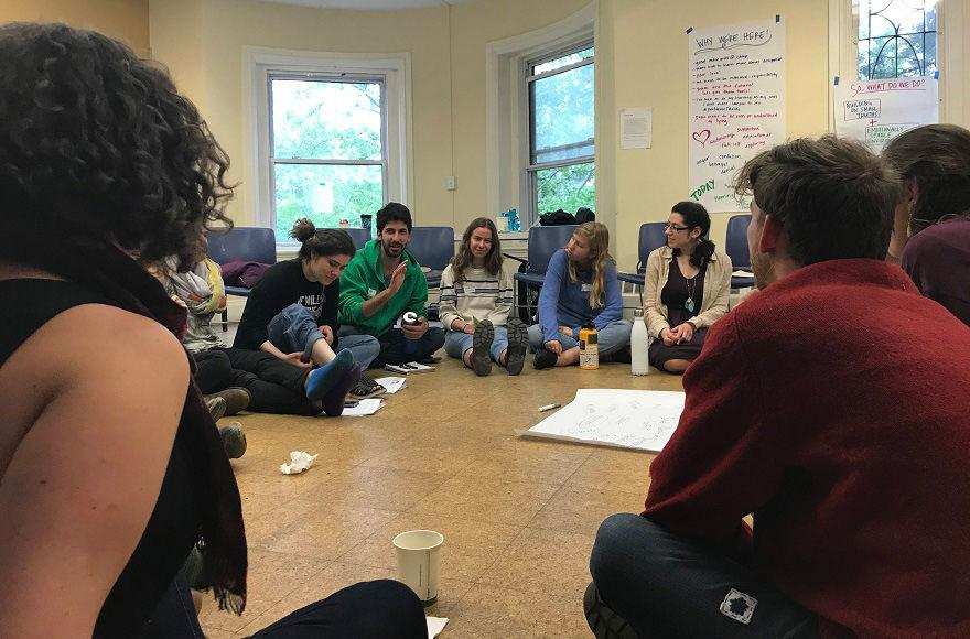 A+participant+speaks+at+an+IfNotNow+training+session+for+camp+counselors+held+in+Boston+in+late+May.+The+session+attracted+about+a+dozen+counselors+from+eight+Reform%2C+Conservative+and+liberal+Zionist+camps.