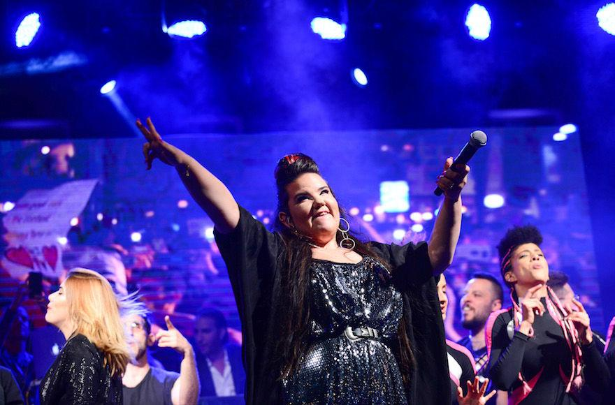 Winner+of+the+eurovision+2018+song+contest+Netta+Barzilai+preforms+at+Rabin+Square+in+Tel+Aviv+on+May+14%2C+2018.+Photo+by+Tomer+Neuberg%2FFlash90