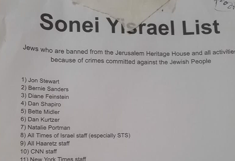 A+list+of+names+of+%E2%80%9CSonei+Yisrael%2C%E2%80%9D+or+haters+of+Israel%2C+banned+from+the+Jerusalem+Heritage+House+hostel.+%28Jacob+Kornbluh%29