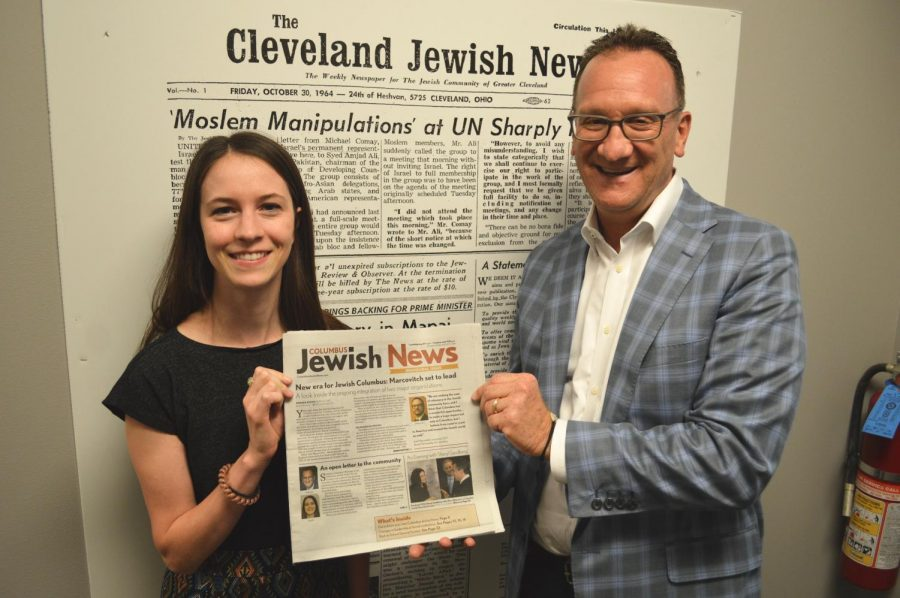 Columbus+Bureau+Chief+Amanda+Koehn+and+Publisher+and+CEO+Kevin+S.+Adelstein+hold+up+the+inaugural+issue+of+the+new+biweekly+Columbus+Jewish+News%2C+which+debuted+Aug.+9.+%28Cleveland+Jewish+News%29