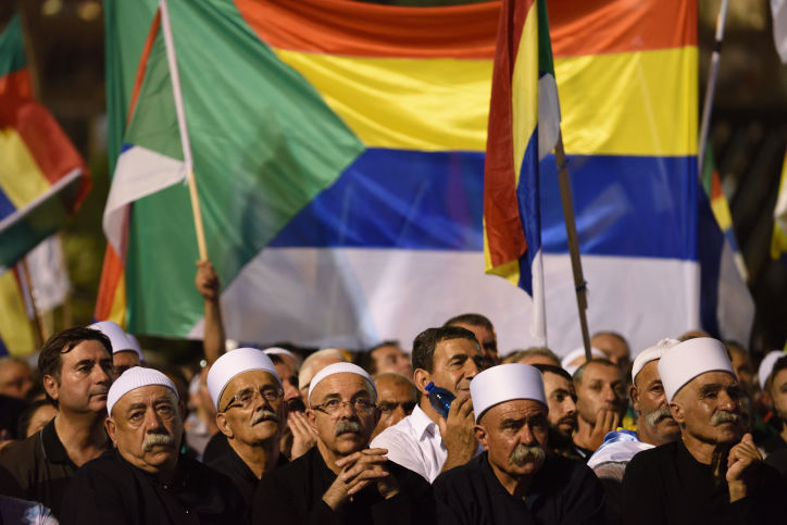 Tens+of+thousands+of+Israeli+Druze+and+their+supporters+attend+a+Druze-led+rally+to+protest+against+the+Jewish+nation-state+law+in+Rabin+Square%2C+Tel+Aviv+on+Aug.+4%2C+2018.+%28Gili+Yaari+%2FFLASH90%29
