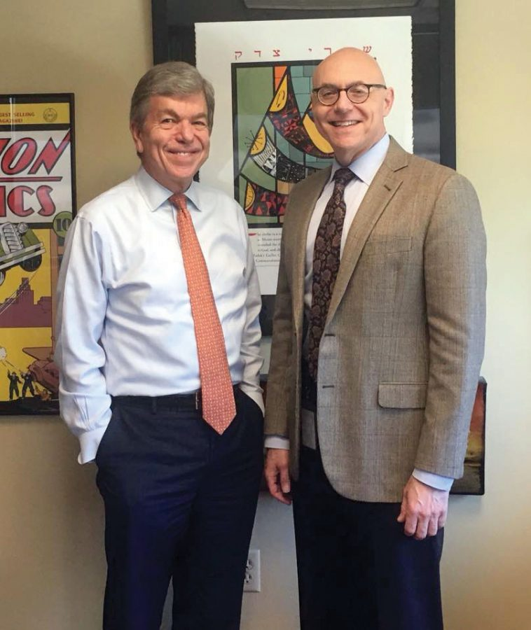 Andrew Rehfeld, president and CEO of Jewish Federation of St. Louis, at right, met with Sen. Roy Blunt, R-Mo., on Sept. 14 at the nonprofit's headquarters near Creve Coeur.