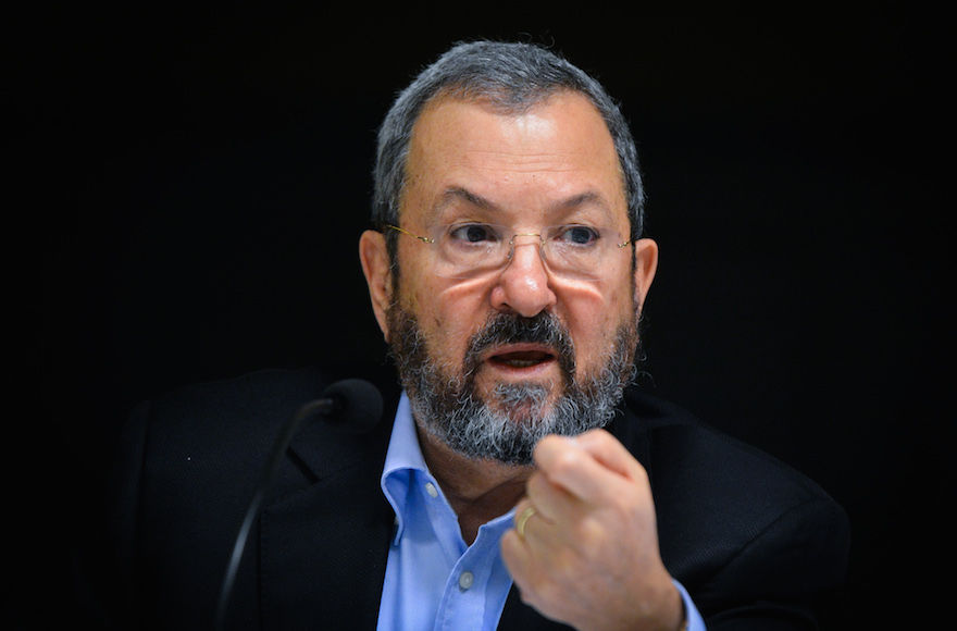 Ehud+Barak+speaking+during+a+launch+event+for+the+Reporty+App+in+Tel+Aviv%2C+March+16%2C+2016.+%28Flash90%29
