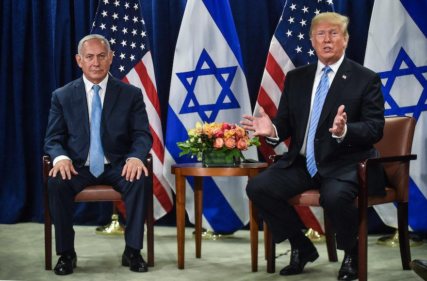 President+Donald+Trump+meets+with+Israeli+Prime+Minister+Benjamin+Netanyahu+in+New+York+on+the+sidelines+of+the+UN+General+Assembly%2C+Sept.+26%2C+2018.+%28Nicholas+Kamm%2FAFP%2FGetty+Images%29