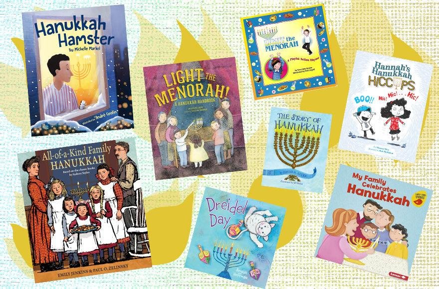 These new Hanukkah books will light up children's imaginations. (Collage by Lior Zaltzman/JTA; the publishers provided the covers)