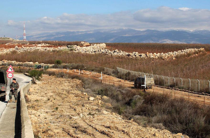 A view of the border between Lebanon (L) and Israel near the village of Kfar Kila, Feb. 7, 2018. (Ali Dia/AFP/Getty Images)