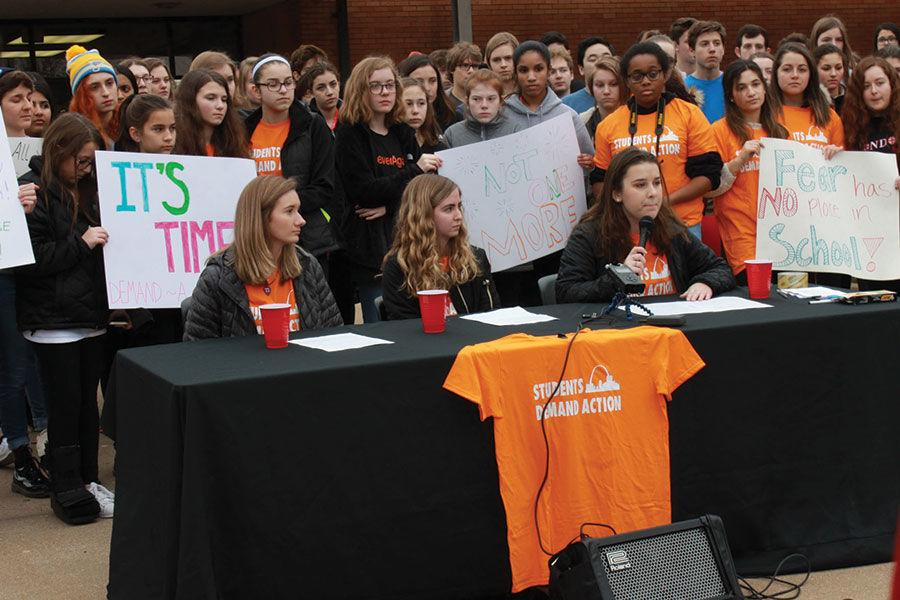 A group of students with the help of State Rep. Stacey Newman organized a press conference on Feb. 23 at Parkway Central High School to urge lawmakers to take action to prevent mass shootings.Photo: Eric Berger