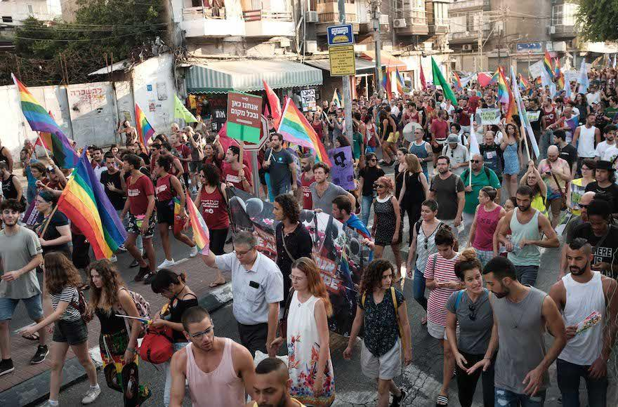 Members and supporters of Israel's LGBT community demonstrating in south Tel Aviv, July 22, 2018. Photo: Tomer Neuberg/Flash90