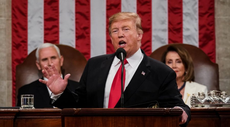 President Donald Trump delivers the State of the Union address at the Capitol, Feb. 5, 2019. Photo: Doug Mills/The New York Times/Pool/Getty Images