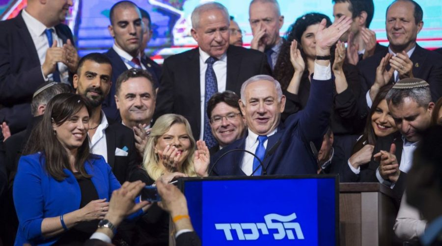 Israeli Prime Minster Benjamin Netanyahu, and his wife, Sara, greet Likud party supporters in Tel Aviv, April 10, 2019. (Amir Levy/Getty Images)