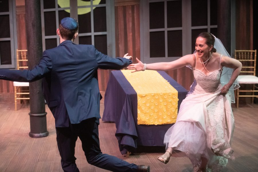 Graham Emmons and Jessica Kadish play the bride and groom in New Jewish Theater's 'I Now Pronounce.'Photo:Jon Gitchoff