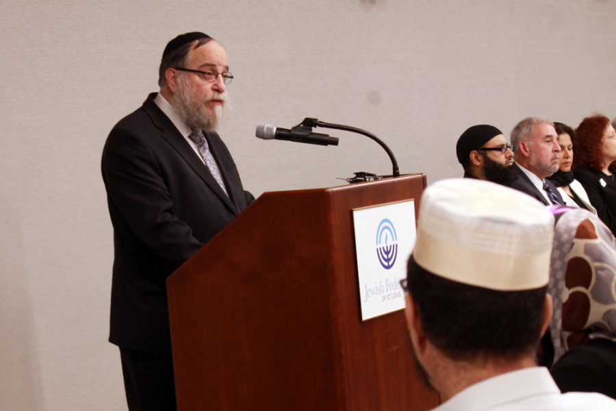 Rabbi Yosef Landa, director of Chabad of Greater St. Louis, speaks at a community gathering on Sunday organized by Jewish Federation of St. Louis and the Jewish Community Relations Council after the shooting at the Chabad of Poway synagogue in California. Photo: Eric Berger