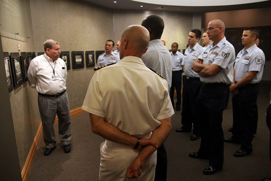 Longtime docent Irl Solomon leads a tour at the Holocaust Museum and Learning Center in 2012. File photo: Mike Sherwin
