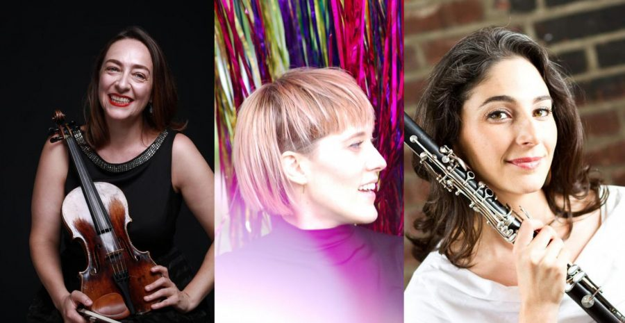 From left: Cristina Buciu, Lucy Dhegrae and Dana Hotle are three of the featured artists in this year's Gesher Music Festival.