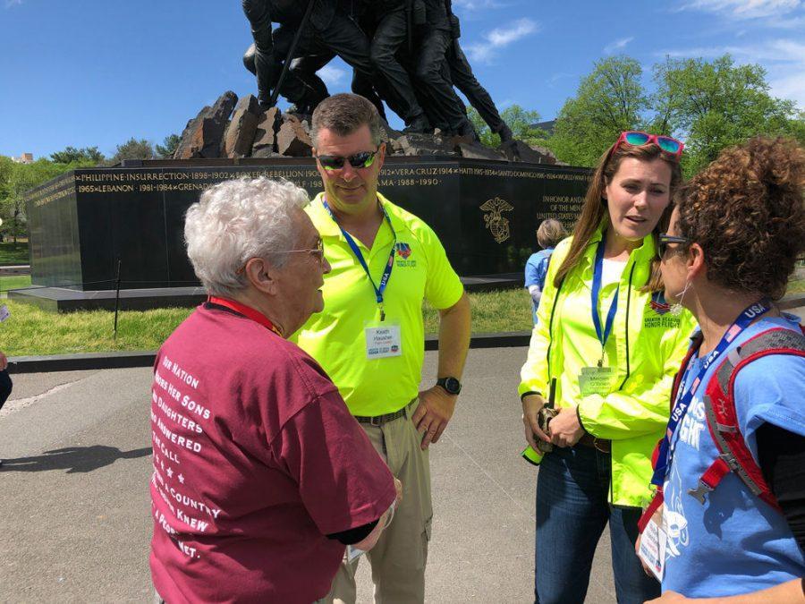 From left, St. Louis veteran Helyn Kevrick, Greater St. Louis Honor Flight flight leaders Keath Hausher and Megan O'Brien, and Kevrick's daughter, Rebel Vaenberg, visit the United States Marine Corps War Memorial in Arlington, Va.
