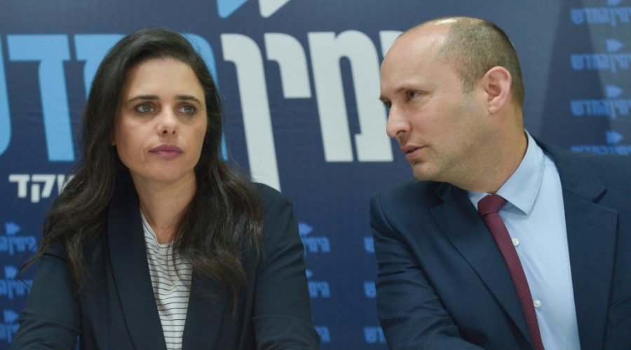 Ayelet+Shaked+and+Naftali+Bennett+hold+a+news+conference+for+the+New+Right+party+in+Tel+Aviv%2C+March+17%2C+2019.+Photo%3A+Flash90