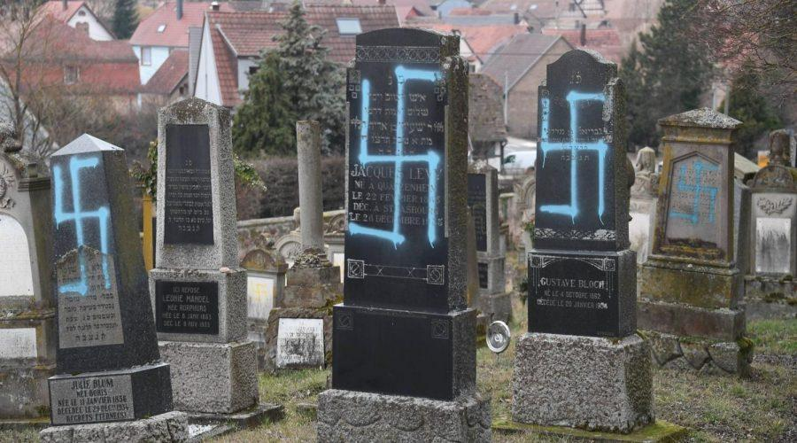Some+of+the+80+gravestones+vandalized+in+a+Jewish+cemetery+in+the+French+village+of+Quatzenheim%2C+Feb.+19%2C+2019.+%28Frederick+Florin%2FAFP%2FGetty+Images%29%C2%A0
