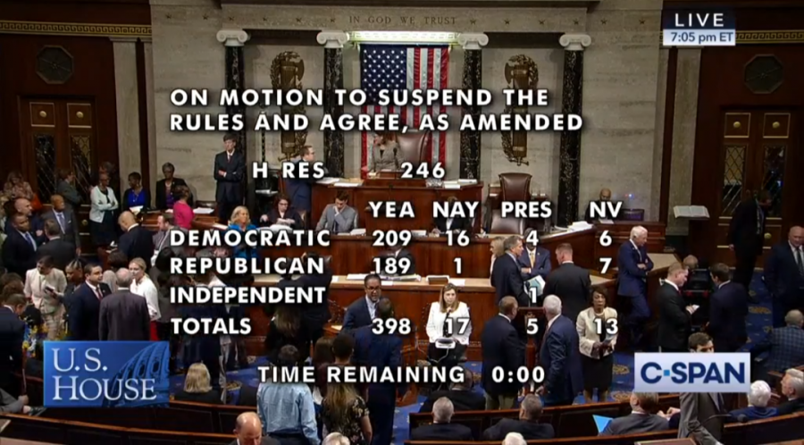 A+screenshot+of+C-Span+at+the+end+of+a+tally+of+a+U.S.+House+of+Representatives+vote+to+condemn+the+boycott+Israel+movement+on+July+23%2C+2019.