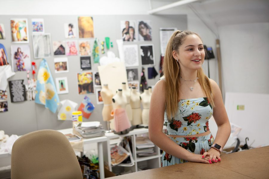Madison+Marks+talks+with+a+reporter%C2%A0+at+the+St.+Louis+Fashion+Fund+on+Washington+Avenue+downtown.+Madison%2C+who+just+entered+her+freshman+year+at+Parkway+Central+High+School%2C+will+show+some+of+her+designs+at+an+Aug.+18+event%C2%A0+at+United+Hebrew%2C+raising+funds+for+My+Diversity+Circle.%C2%A0Photo%3A+Mike+Sherwin