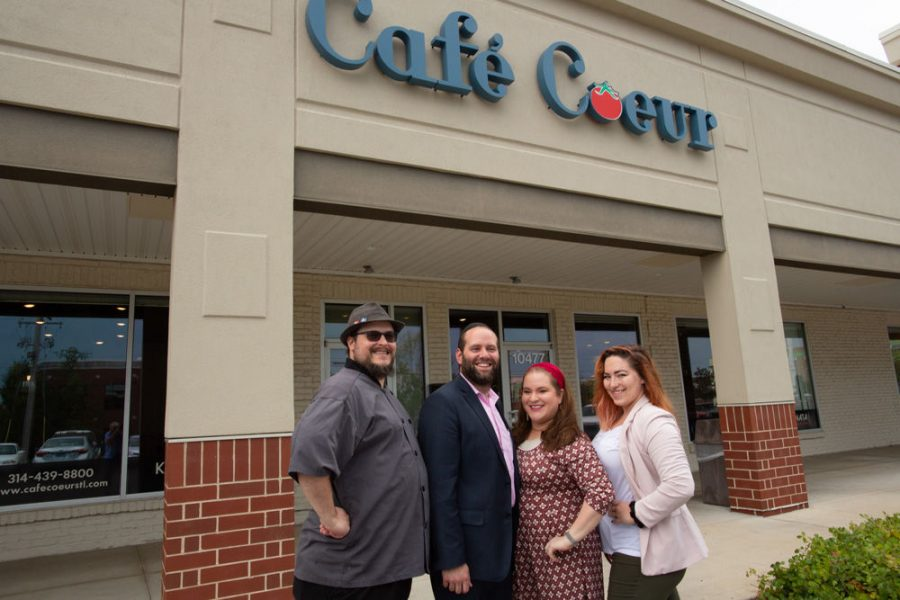 Caf%C3%A9+Coeur+chef%C2%A0Matthew+R.+Dawson%2C+co-owners+Moshe+and+Chana+Plotnik+and+manager+Therese+Fisher.+The+restaurant+is+St.+Louis%E2%80%99+newest+kosher+dining+option%2C+located+on+Old+Olive+Road.