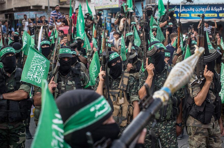 Hamas+militants+at+a+military+show+in+the+Gaza+Strip%2C+July+20%2C+2017.+%28Chris+McGrath%2FGetty+Images%29