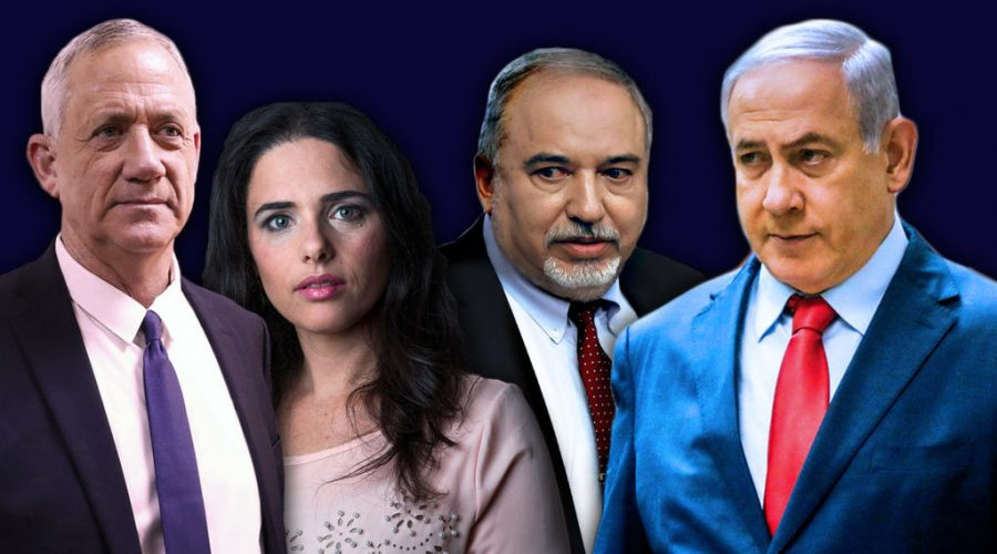 From+left+to+right%3A+Benny+Gantz%2C+Ayelet+Shaked%2C+Avigdor+Lieberman+and+Israeli+Prime+Minister+Benjamin+Netanyahu.+Israel+will+hold+its+next+elections+on+Sept.+17%2C+2019.+%28Getty+Images%2FJTA+Montage%29