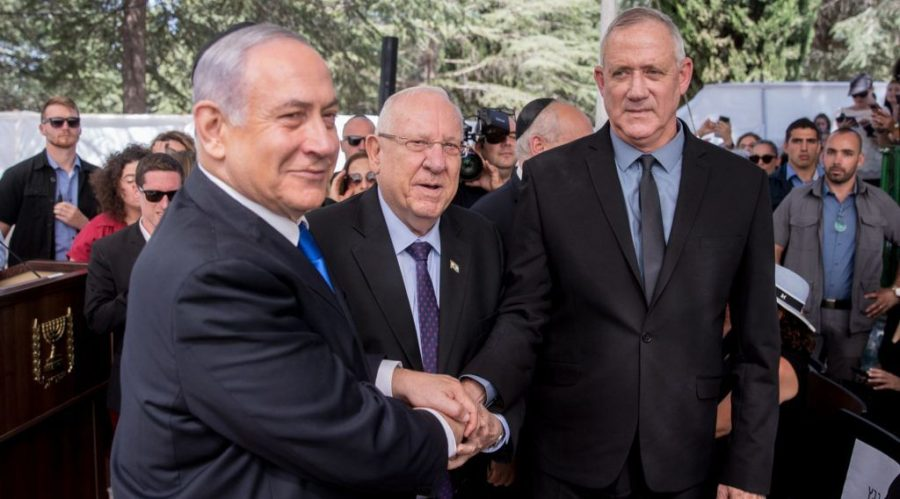 From+left%3A+Prime+Minister+Benjamin+Netanyahu%2C+President+Reuven+Rivlin%2C+and+Blue+and+White+leader+Benny+Gantz%2C+at+the+memorial+ceremony+for+the+late+President+Shimon+Peres%2C+at+the+Mount+Herzl+cemetery+in+Jerusalem%2C+Sept.+19%2C+2019.+%28Yonatan+Sindel%2FFlash90%29