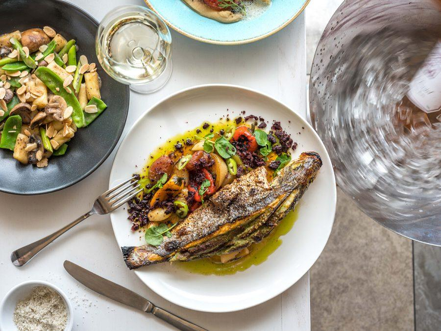Sea+Bass+With+Roasted+Peppers+and+Herb+Cream+Filling.+Photo+courtesy+The+Edge+Partners+PR