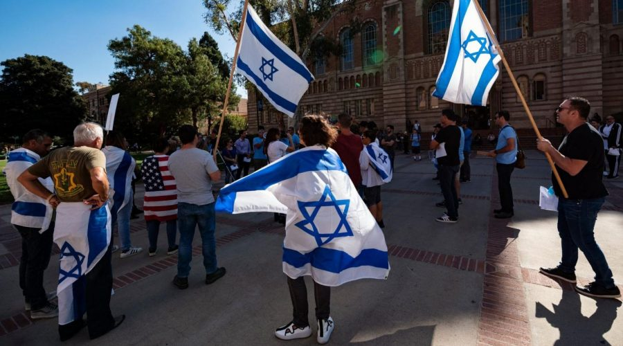 Members+of+the+Jewish+community+and+their+allies+protest+anti-Semitism+and+a+National+Students+for+Justice+in+Palestine+conference+at+the+UCLA+campus+in+Los+Angeles%2C+Nov.+6%2C+2018.+%28Ronen+Tivony%2FNurPhoto+via+Getty+Image