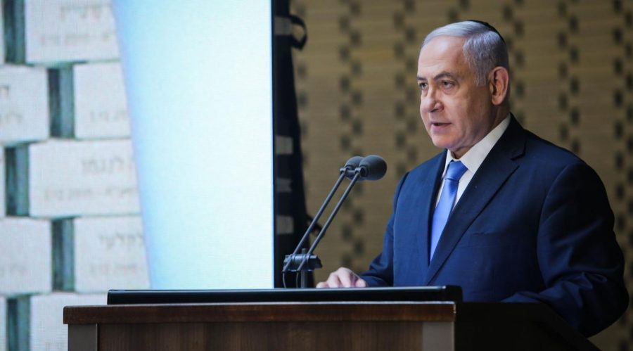 Prime Minister Benjamin Netanyahu of Israel speaks at a memorial ceremony for fallen soldiers of the 1973 Yom Kippur War at the National Hall of Remembrance in Mount Herzl, Jerusalem, Oct. 10, 2019. (Flash90)