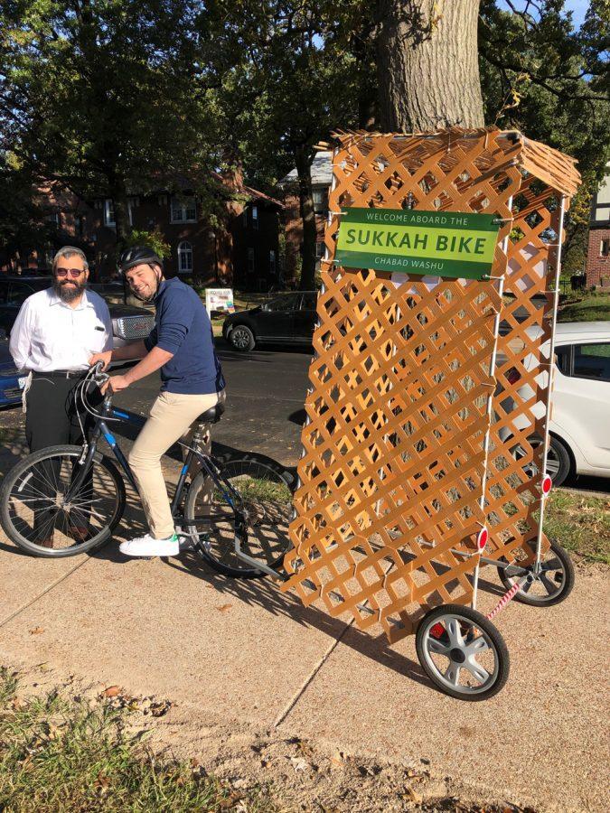 Rabbi Hershey Novack with Jonathan Mack and the mobile sukkah Mack built.