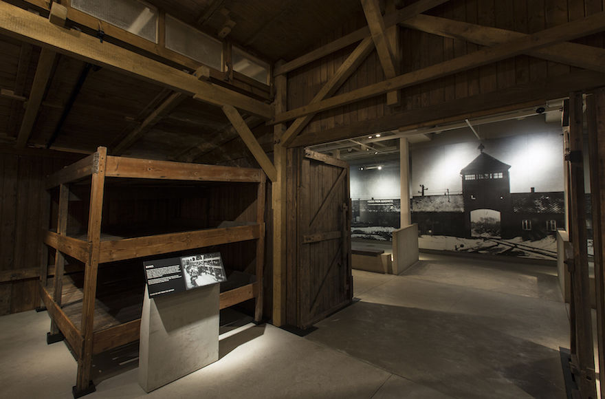 A+view+of+barracks+from+Auschwitz-Birkenau+in+the+U.S.+Holocaust+Memorial%C2%A0Museum%27s+permanent+exhibition.%C2%A0%C2%A0