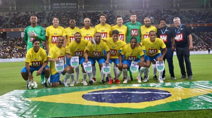 The+Brazilian+squad+of+acclaimed+retired+soccer+stars+at+Sammy+Offer+Stadium+in+Haifa+prior+to+the+%22Shalom+Game%22+against+reitred+Israeli+soccer+stars+on+Oct.+29%2C+2019.+%28Courtesy+of+MTR7%29