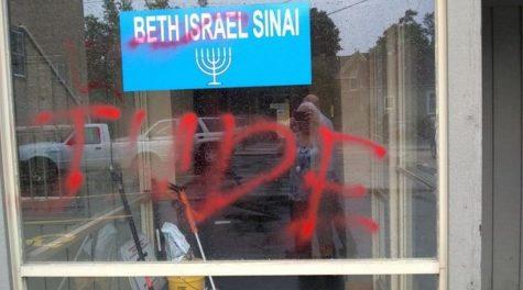Anti-Semitic graffiti found on Beth Israel Sinai in Racine, Wisc., Sept. 22, 2019. (Joyce Placzkowski)