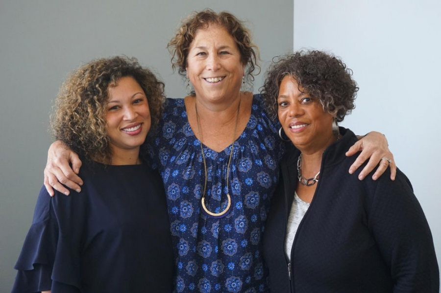 Jewish Light Editor Ellen Futterman interviewed Judy Gladney, right, and her daughter Erica Vickers Cage, left, for a St. Louis Post-Dispatch story.