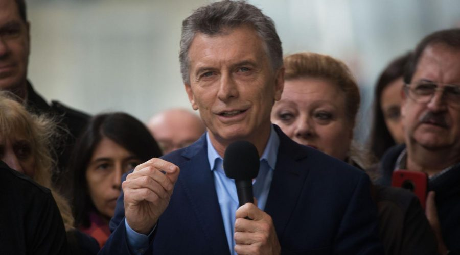 President+Mauricio+Macri+of+Argentina+attends+a+political+meeting+to+inaugurate+a+train+viaduct+in+Buenos+Aires%2C+May+11%2C+2019.+Photo%3A+Mario+De+Fina%2FNurPhoto+via+Getty+Images