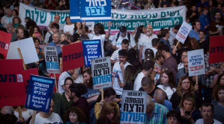 Israelis+attend+a+rally+marking+24+years+since+the+assassination+of+late+Israeli+Prime+Minister+Yitzhak+Rabin%2C+at+Tel+Avivs+Rabin+Square+on+Nov.+2%2C+2019%2C+under+the+slogan%3A+%E2%80%9CYes+to+peace%2C+no+to+violence.+%28Miriam+Alster%2FFlash90%29