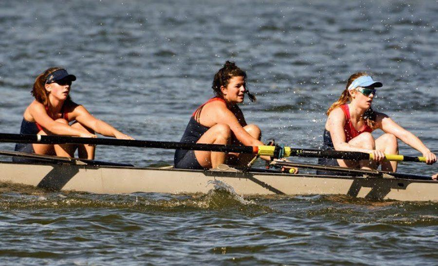 Lili Toledano (pictured at center), a senior at Ladue Horton Watkins High School, began rowing as a freshman. In September she committed to row for Indiana University, which has a NCAA Division I rowing team.