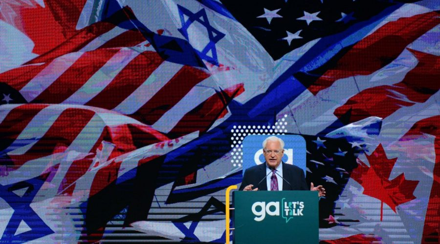 U.S. Ambassador to Israel David Friedman speaks at the Jewish Federation of North America's annual General Assembly in Tel Aviv, Oct. 24, 2018. (Tomer Neuberg/Flash90)