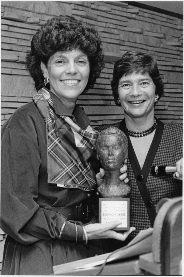 LOOKING BACK • Lynn Lyss (left) receives the National Council of Jewish Women-St. Louis Hannah G. Solomon Founders Award in 1987 from then-NCJWSTL President Evelyn Cohen. As part of its 125th anniversary in 2020, NCJW is looking for the community to share stories and photos of NCJWSTL through the years.