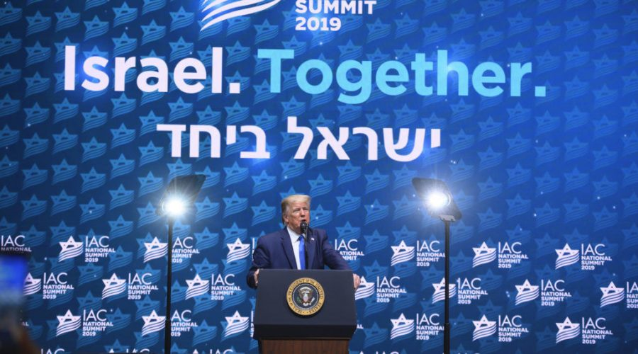President Donald Trump speaks at the Israeli-American Council's annual conference in Hollywood, Fla., Dec. 7, 2019. (Noam Galai)