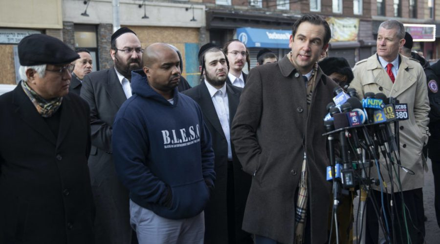 Jersey City Mayor Steven Fulop speaks to reporters at the scene of the shooting at a kosher market, Dec. 11, 2019. (Jennifer Brown/City of Jersey City)