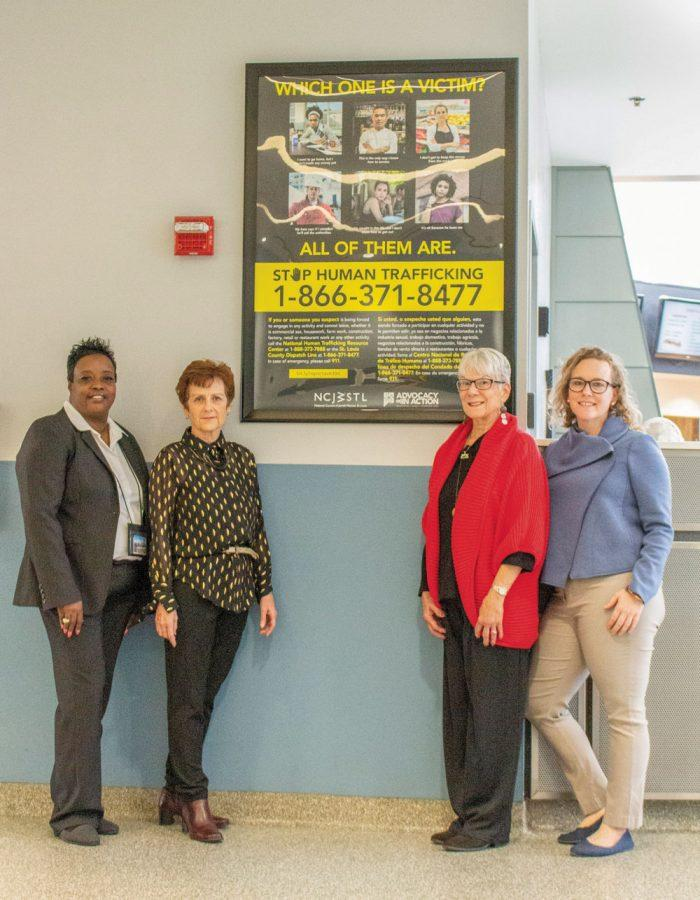 From left, Gateway Transportation Center manager Sonia Day; and NCJWSTL volunteer Mary Murphy, board member Marilen Pitler and program director Heather Silverman.