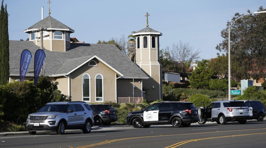 Police vehicles gather around the synagogue where a shooting took place in Poway, Calif., April 27, 2019. (Xinhua/ via Getty Images)