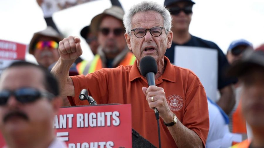 Rep.+Alan+Lowenthal+addresses+a+Los+Angeles+union+protest%2C+Oct.+3%2C+2018.+The+California+Democrat+authored+a+congressional+resolution+endorsing+the+two-state+solution.+%28Brittany+Murray%2FDigital+First+Media%2FLong+Beach+Press-Telegram+via+Getty+Images%29