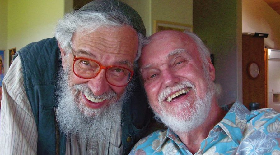 Ram Dass, right, born Richard Albert, with his friend Rabbi Zalman Schachter-Shalomi. Photo: Joan Halifax/Wikimedia Commons