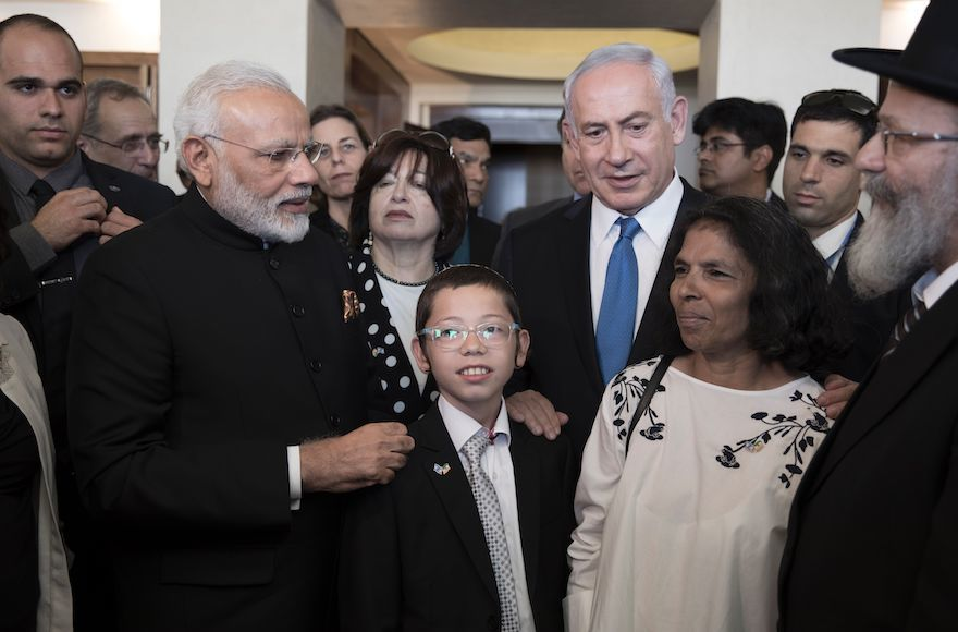 Indian+Prime+Minister+Narendra+Modi%2C+left%2C+and+Israeli+Prime+Minister+Benjamin+Netanyahu%2C+in+the+blue+tie%2C+meet+with+Moshe+Holtzberg+and+his+nanny+Sandra+at+an+event+at+the+Nariman+Chabad+House+in+Mumbai%2C+the+site+of+the+2008+shooting+that+left+Holtzberg%27s+parents+dead%2C+July+5%2C+2017.+Photo%3A+Atef+Safadi%2FAFP%2FGetty+Images
