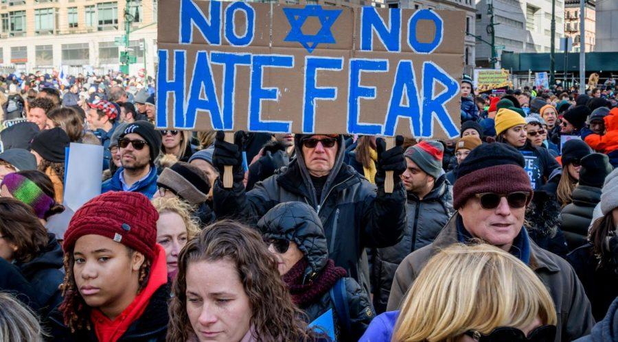 Participants+holding+a+sign+at+the+rally.+Thousands+of+New+Yorkers+of+all+backgrounds+joined+community+leaders+and+city+and+statewide+elected+officials+in+Foley+Square+at+the+No+Hate.+No+Fear.+solidarity+march+in+unity+against+the+rise+of+anti-semitism.+%28Erik+McGregor%2FLightRocket+via+Getty+Images%29%C2%A0