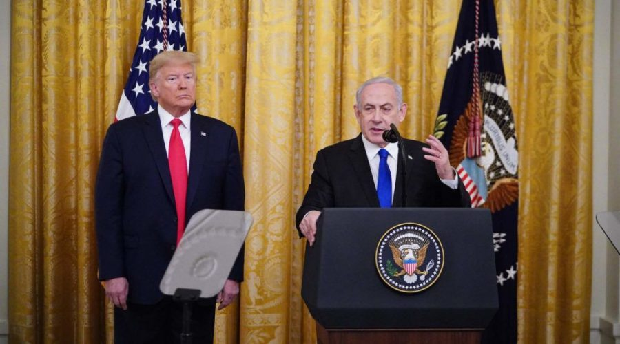 President+Donald+Trump+and+Israeli+Prime+Minister+Benjamin+Netanyahu+take+part+in+an+announcement+of+Trump%27s+Middle+East+peace+plan+in+the+East+Room+of+the+White+House%2C+Jan.+28%2C+2020.+%28Mandel+Ngan%2FAFP+via+Getty+Images%29
