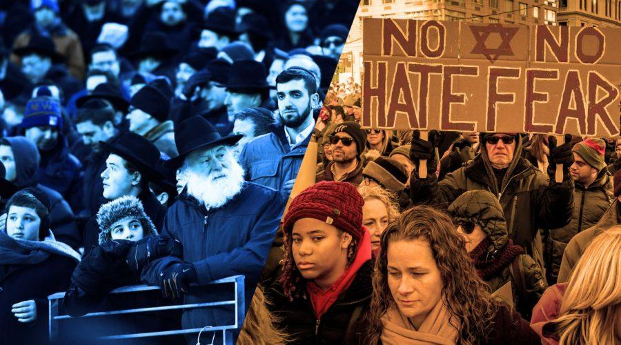 Left%3A+The+Siyum+HaShas+at+MetLife+Stadium+%28Courtesy+of+Agudath+Israel%29.+Right%3A+The+No+Fear+No+Hate+March+in+New+York+City%2C+Jan.+5%2C+2020.+%28Getty+Images%29